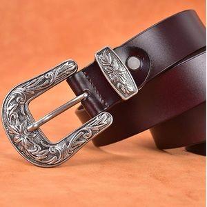 Vintage buckle belt Brown, silver Buckle